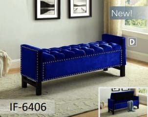 Image of Blue Fabric Storage Bench with Chrome Nailhead