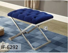 Blue Velvet Fabric Ottoman With Stainless Steel Legs