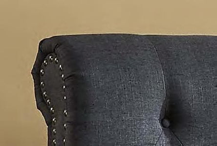 Charcoal Fabric Bed with Nailhead