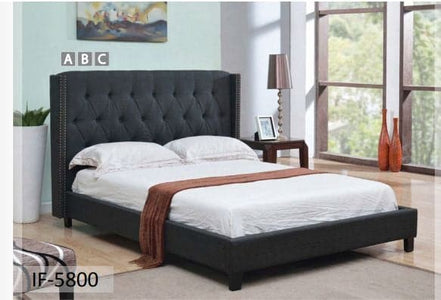 Charcoal Fabric Nailhead Bed