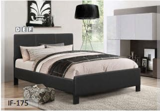 Contrast Stitching Black PU Bed