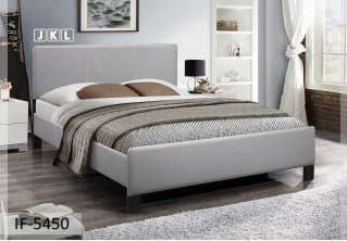 Contrast Stitching Grey PU Bed
