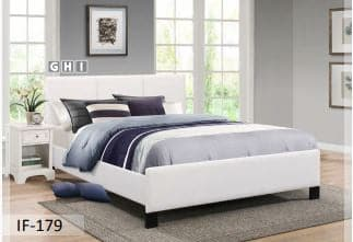Contrast Stitching White PU Bed