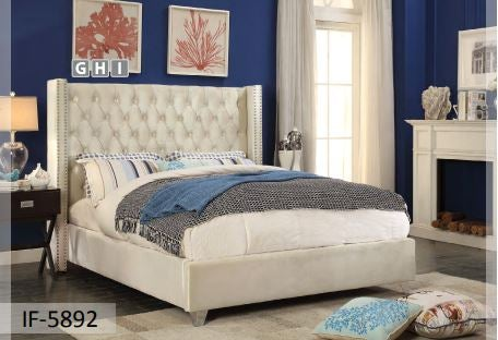 Image of Creme Fabric Velvet Bed
