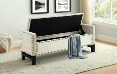 Image of Creme Velvet Storage Bench with Chrome Nailhead
