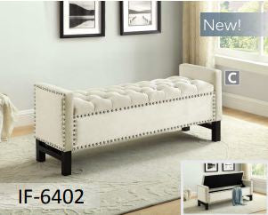 Creme Velvet Storage Bench with Chrome Nailhead
