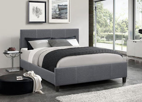 Image of Dark Grey Fabric Bed With Contrast Stitching