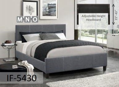 Dark Grey Fabric Bed With Contrast Stitching