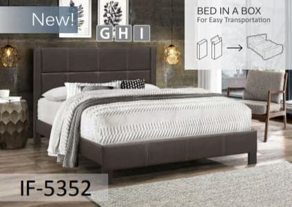 Image of Espresso PU Bed with Contrast