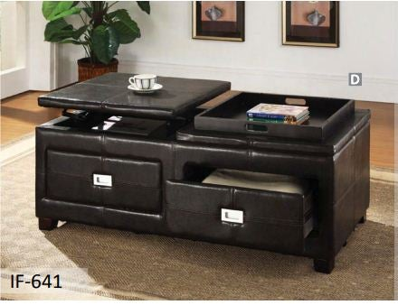 Image of Espresso Leather Bench with Storage