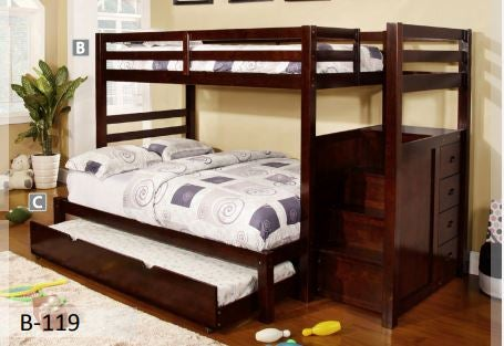 Image of Espresso Wooden Storage Bunk Bed