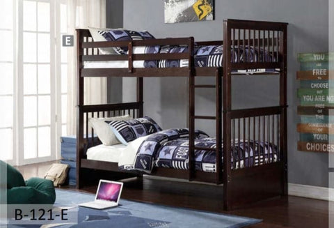 Image of Espresso Wooden Twin Bunk Bed