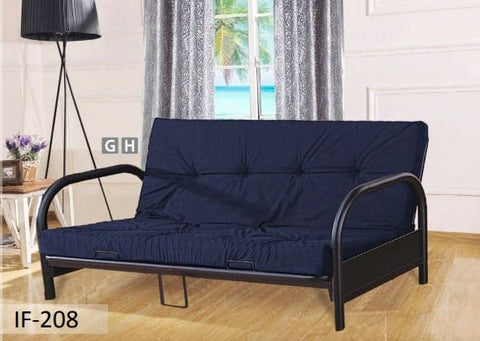 Image of Fabric Shown Blue Black Metal Futon