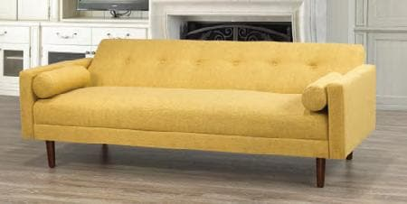 Image of Yellow Fabric Sofa Bed With Espresso Legs