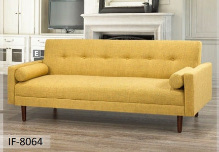 Yellow Fabric Sofa Bed With Espresso Legs