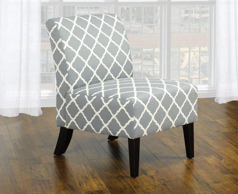 Image of Grey Fabric Accent Chair With Quatrefoil Design
