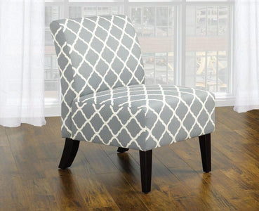 Grey Fabric Accent Chair With Quatrefoil Design