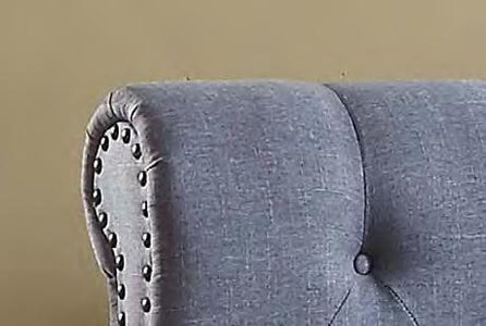 Grey Fabric Bed with Nailhead
