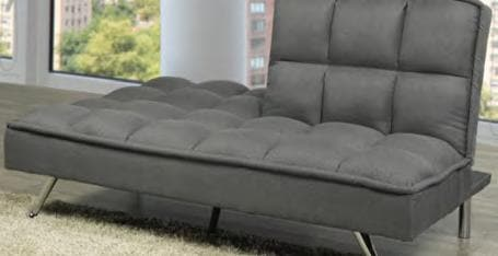 Grey Fabric Sofa Bed With Chrome Legs
