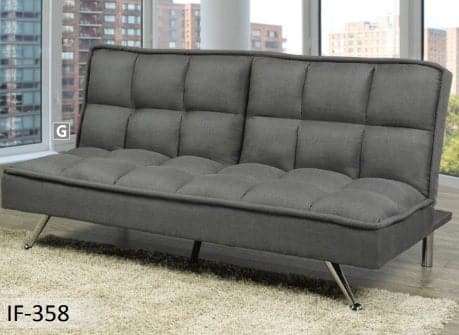 Image of Grey Fabric Sofa Bed With Chrome Legs