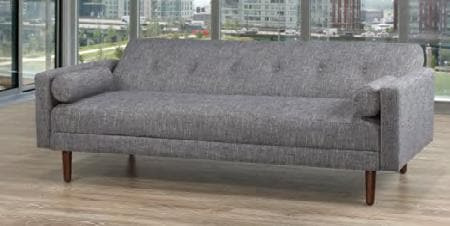 Image of Grey Fabric Sofa Bed With Espresso Legs