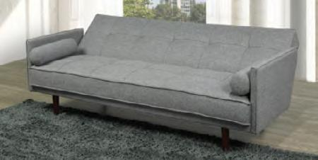 Image of Grey Fabric Sofa Bed with 2 Pillows