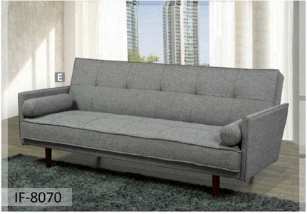 Grey Fabric Sofa Bed with 2 Pillows