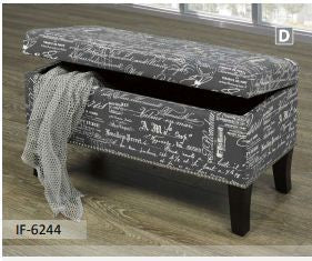 Grey Fabric Storage Bench With Nail Heads