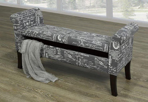 Image of Grey French Fabric Bench
