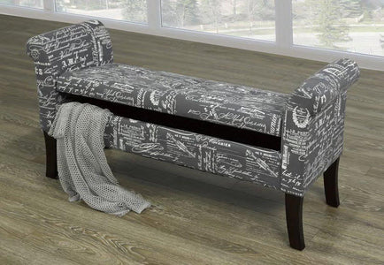 Grey French Fabric Bench
