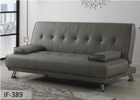 Image of Grey PU Sofa Bed With 2 Pillows