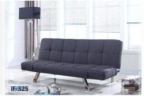 Image of Grey Sofa Bed With Chrome Legs