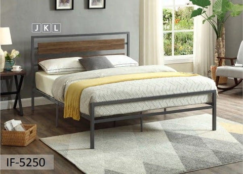 Image of Grey Steel Frame Wood Panel Bed