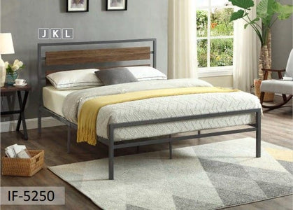 Grey Steel Frame Wood Panel Bed
