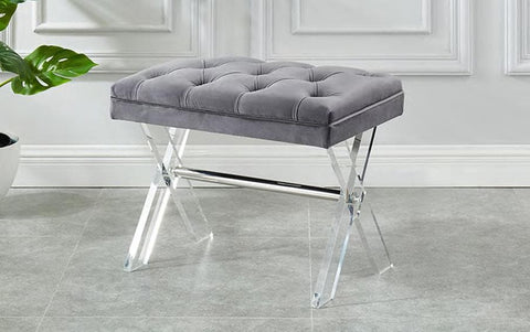 Image of Grey Velvet Fabric Bench with Deep Tufting