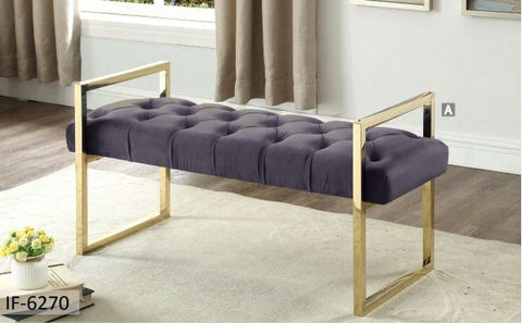 Image of Grey Velvet Fabric Bench with Gold Legs