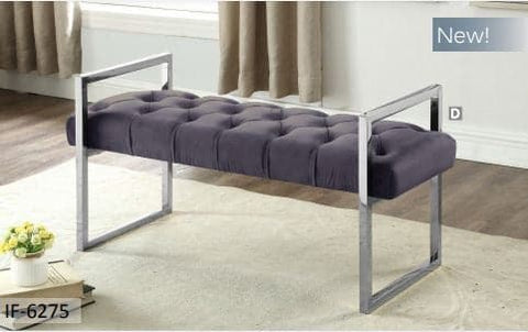 Image of Grey Velvet Fabric Bench with Stainless Legs