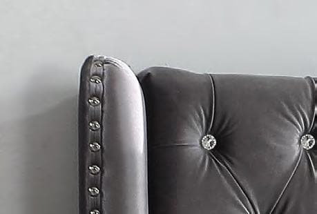 Image of Grey Velvet Fabric Nailhead Bed