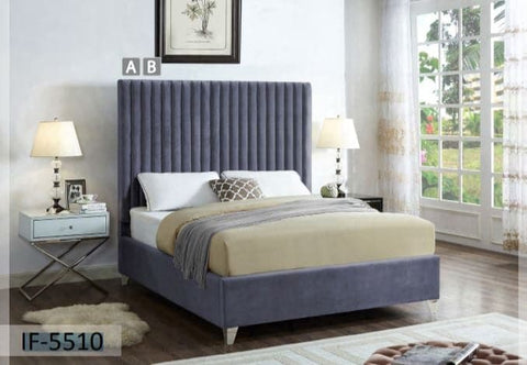 Image of Rich Grey Velvet Bed