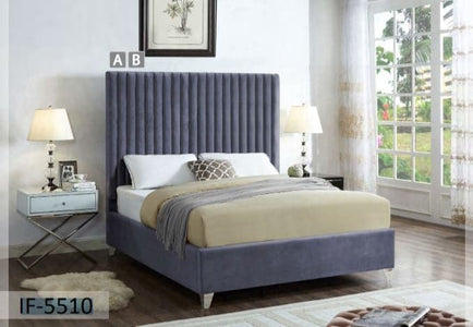 Rich Grey Velvet Bed