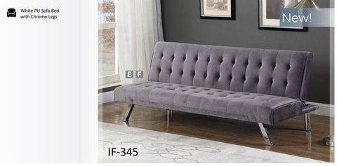Image of Grey Velvet Sofa Bed with Chrome Legs