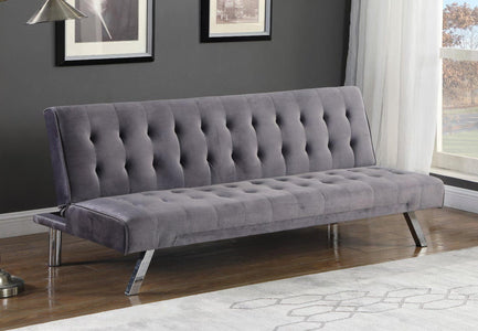 Grey Velvet Sofa Bed with Chrome Legs