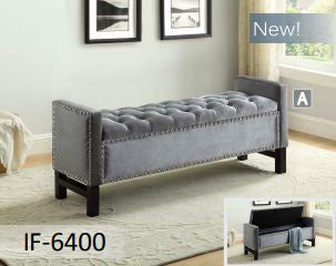 Image of Grey Velvet Storage Bench with Chrome Nailhead