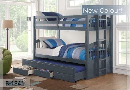 Image of Grey Wooden Bunk Bed