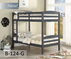Image of Grey Wooden Twin Bunk Bed