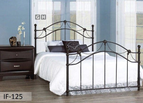 Image of Hammered Bronze Metal Bed With Gold Accents