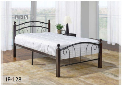Black Dark Cherry Posts Metal Bed