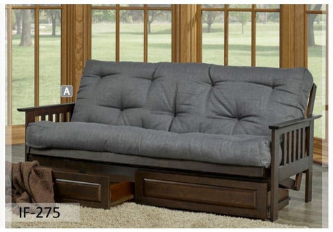 Image of Espresso Fabric Colour Futon Sofa Bed