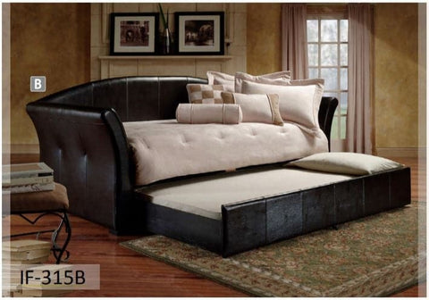 Image of Black Pull-Out Trundle PU Day Bed