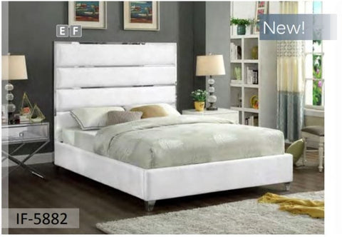 Image of White Velvet Bed
